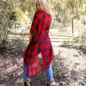Tops - Buffalo Plaid Cardigan Layer Kimono L XL 1X 2X 3X